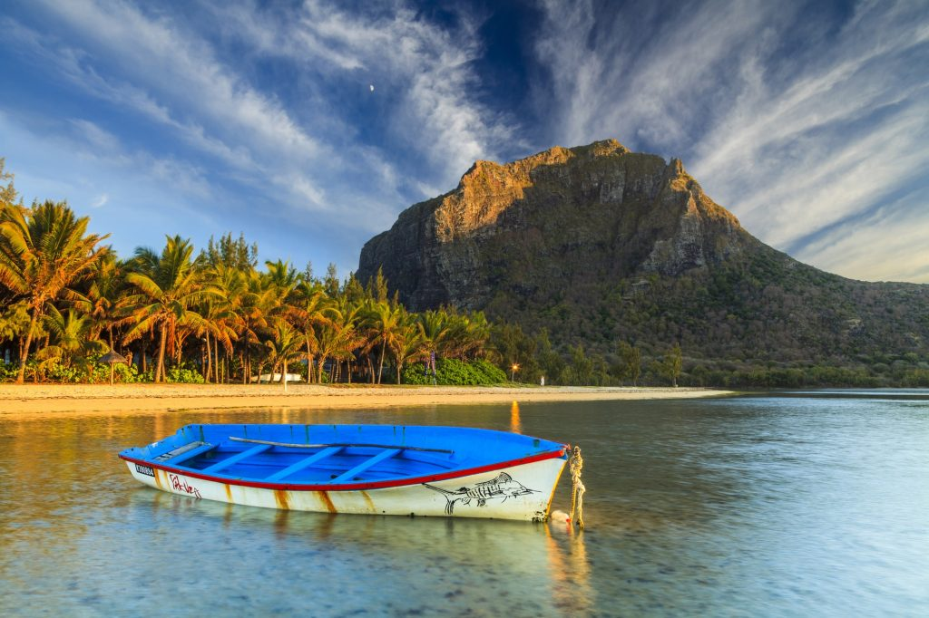 Fishing boat near the shore of the tropical island. Mauritius.